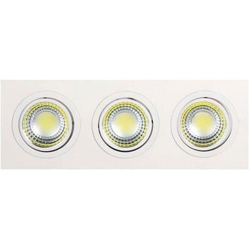 LED Spot - Inbouwspot 3-lichts - Rechthoek 15W - Helder/Koud Wit 6400K - Mat Wit Aluminium - Kantelb