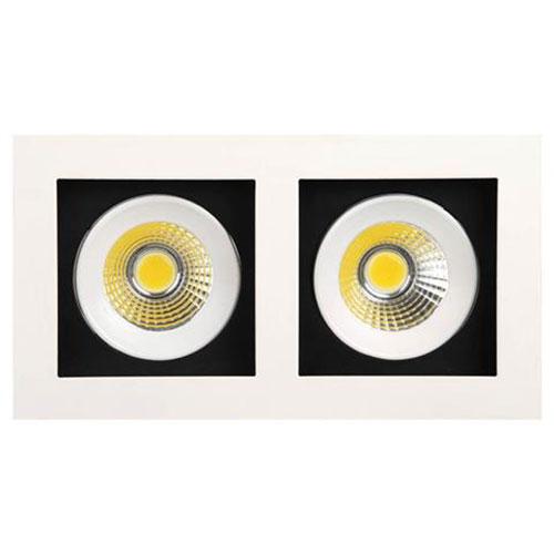 LED Spot - Inbouwspot Dubbel - Rechthoek 16W - Helder/Koud Wit 6400K - Mat Wit Aluminium - Kantelbaa
