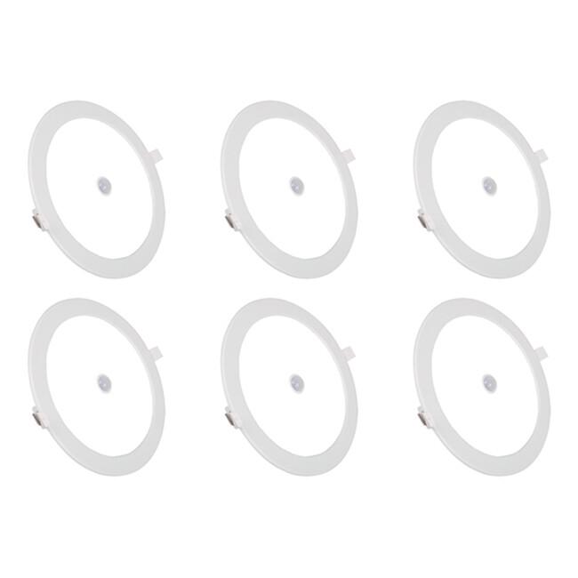 LED Downlight Slim 6 Pack - Aigi - PIR Bewegingssensor 360° - Inbouw Rond 12W - Helder/Koud Wit 6000