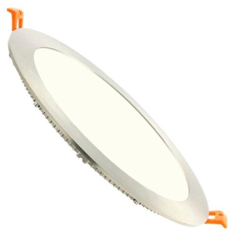 LED Downlight Slim - Facto - Inbouw Rond 20W - Natuurlijk Wit 4000K - RVS - Ø223mm