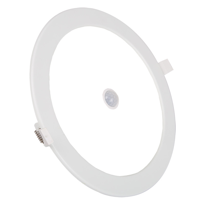 LED Downlight Slim - Aigi - PIR Bewegingssensor 360° - Inbouw Rond 12W - Helder/Koud Wit 6000K - Mat