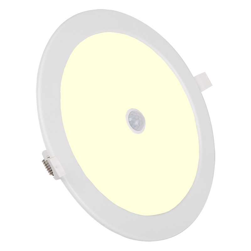LED Downlight Slim - Aigi - PIR Bewegingssensor 360° - Inbouw Rond 12W - Warm Wit 3000K - Mat Wit -