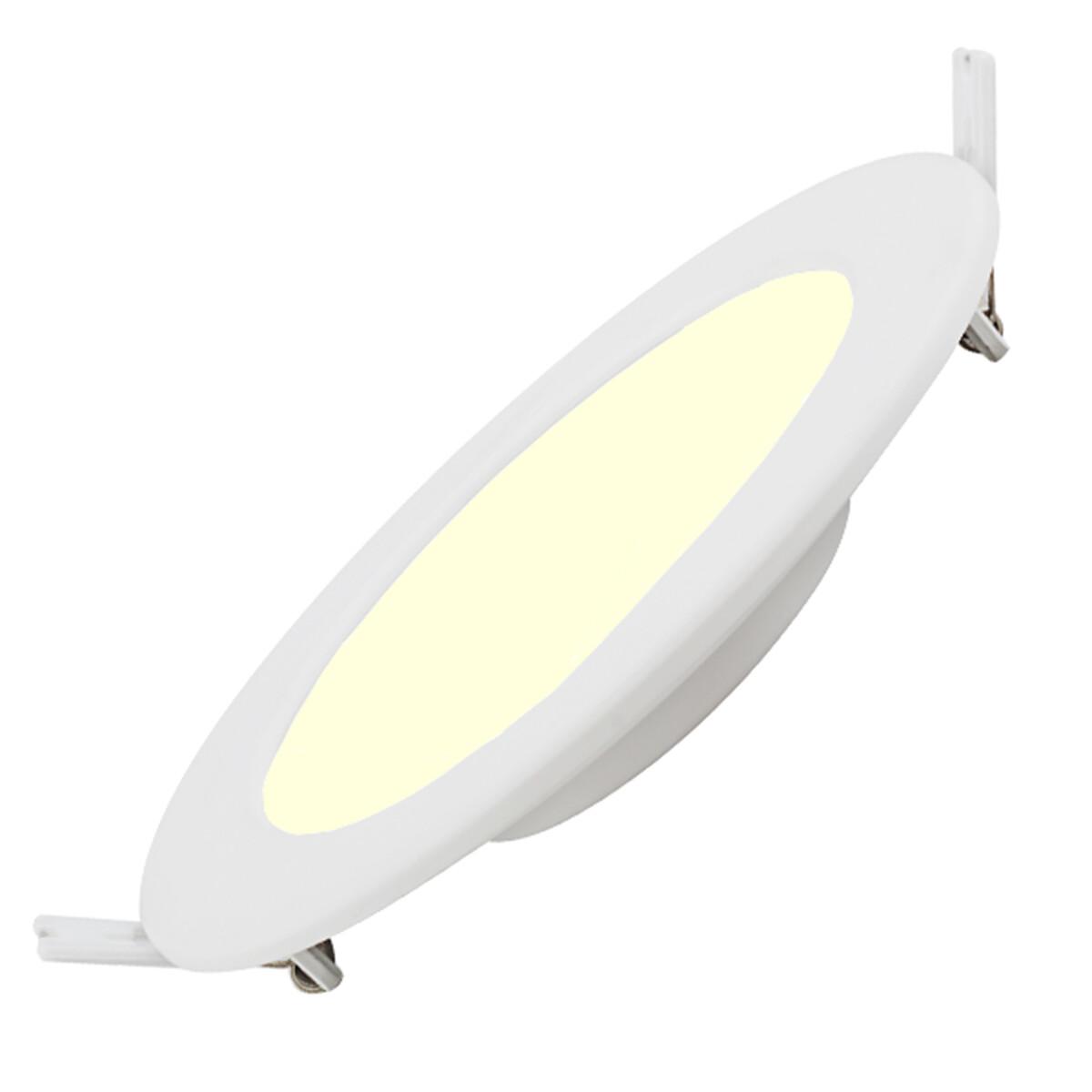 LED Downlight Slim Pro - Aigi - Inbouw Rond 6W - Warm Wit 3000K - Mat Wit - Kunststof - Ø115mm