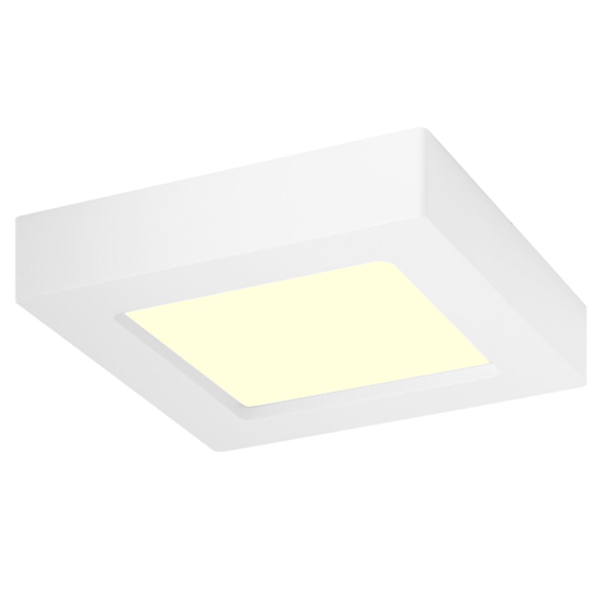 LED Downlight Slim Pro - Aigi Strilo - Opbouw Vierkant 6W - Warm Wit 3000K - Mat Wit - Kunststof