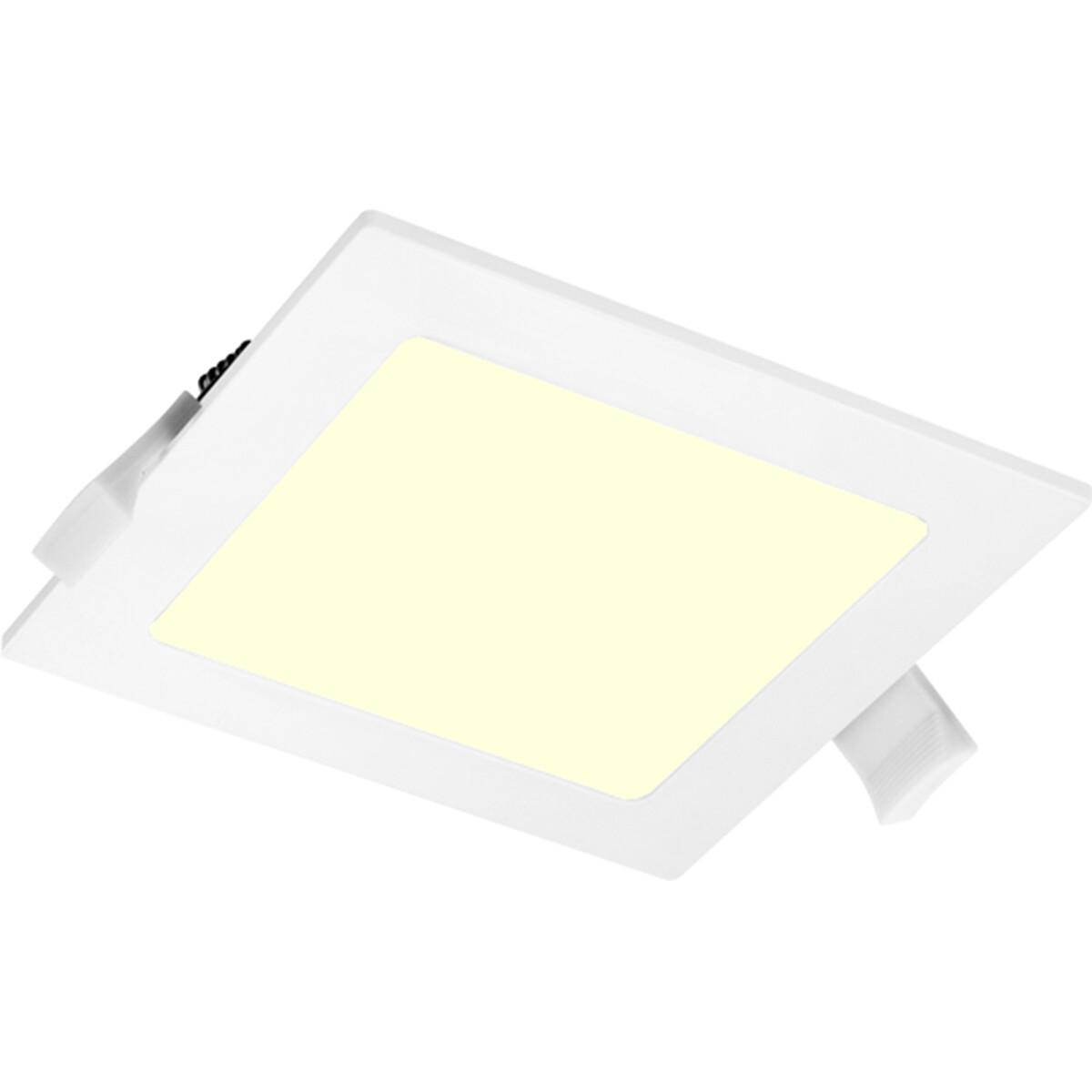 LED Downlight Slim Pro - Aigi Suno - Inbouw Vierkant 12W - Warm Wit 3000K - Mat Wit - Kunststof