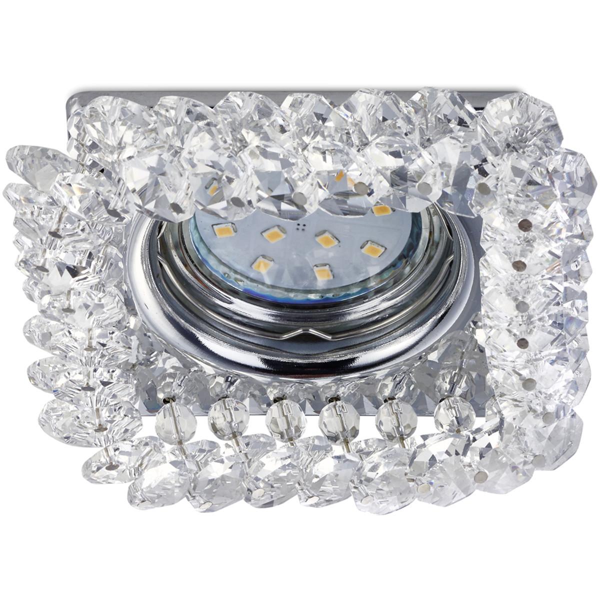 Spot Armatuur GU10 - Trion Dilomy - Inbouw Vierkant - Glans Chroom - Aluminium - 100mm