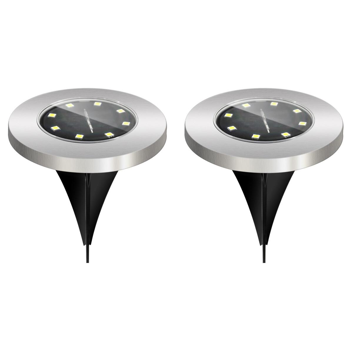 LED Grondspot met Zonne-energie - Set 2 Stuks - Aigi Grido - Inbouw Rond - 0.2W - Waterdicht IP44 -