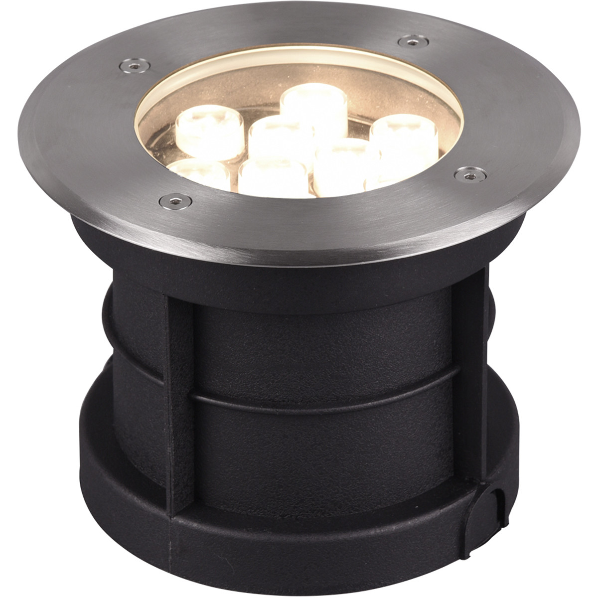 LED Grondspot - Trion Baliyi - Inbouw Rond - 9W - Waterdicht IP65 - Warm Wit 3000K - Mat Nikkel - RV