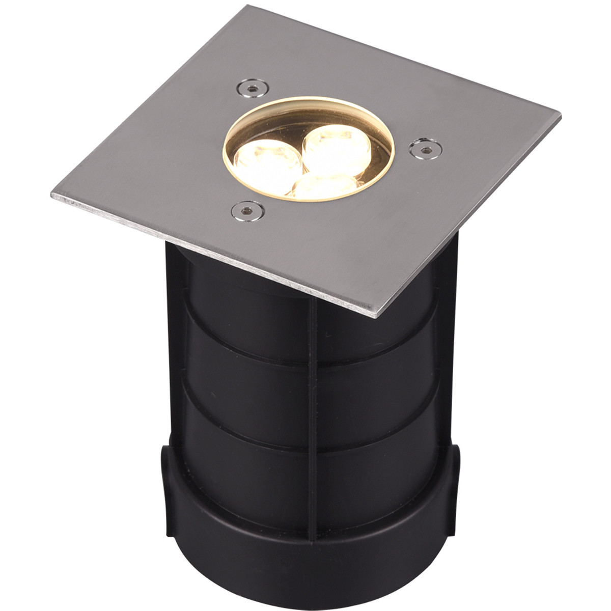 LED Grondspot - Trion Baliyi - Inbouw Vierkant - 3W - Waterdicht IP65 - Warm Wit 3000K - Mat Nikkel