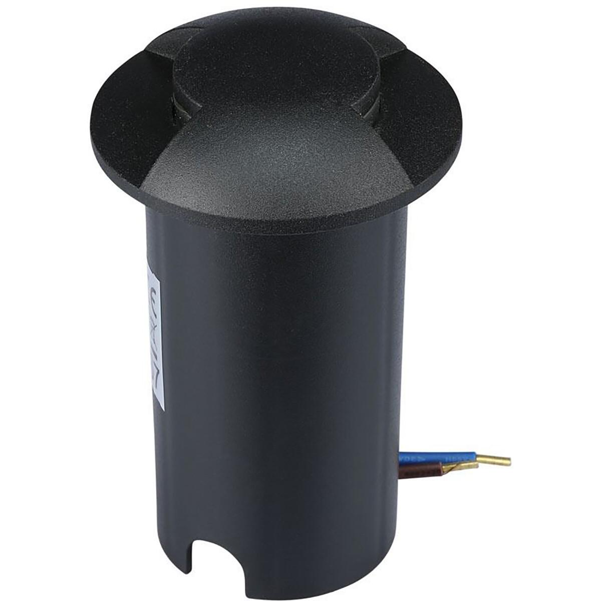 LED Grondspot - Viron Zerda - 1W - 12V - Inbouw - Rond - Warm Wit 3000K - Waterdicht IP67 - Mat Zwar