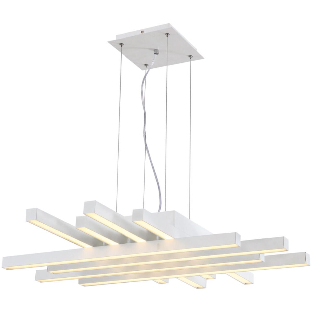 LED Hanglamp - Hangverlichting - Asfino - 85W - Natuurlijk Wit 4000K - Mat Wit - Aluminium