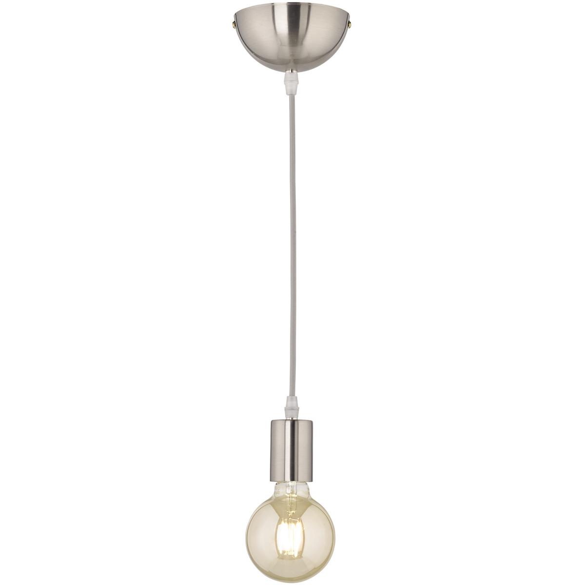 LED Hanglamp - Hangverlichting - Trion Cardino - E27 Fitting - 1-lichts - Rond - Mat Nikkel - Alumin
