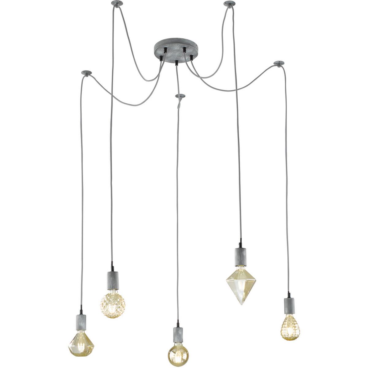 LED Hanglamp - Hangverlichting - Trion Cardino - E27 Fitting - 5-lichts - Rond - Antiek Grijs - Alum