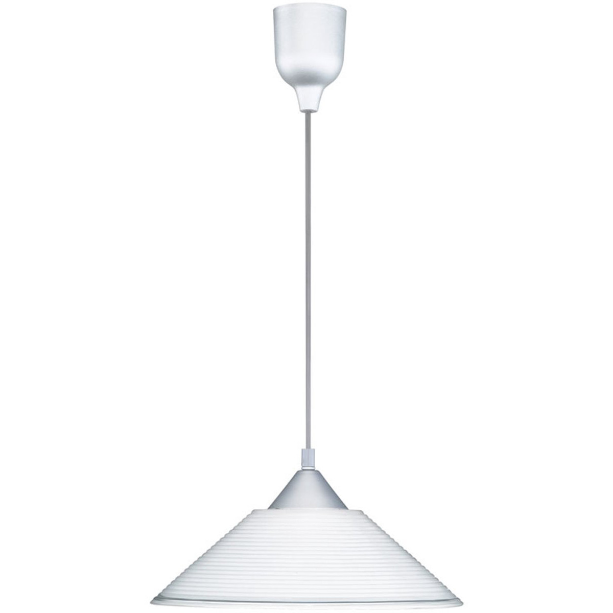 LED Hanglamp - Hangverlichting - Trion Dikon - E27 Fitting - Rond - Aluminium Wit - Kunststof