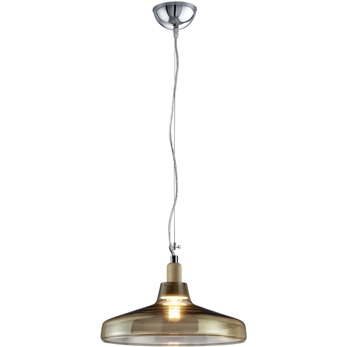 LED Hanglamp - Hangverlichting - Trion Dovino - E27 Fitting - Rond - Mat Bruin - Aluminium