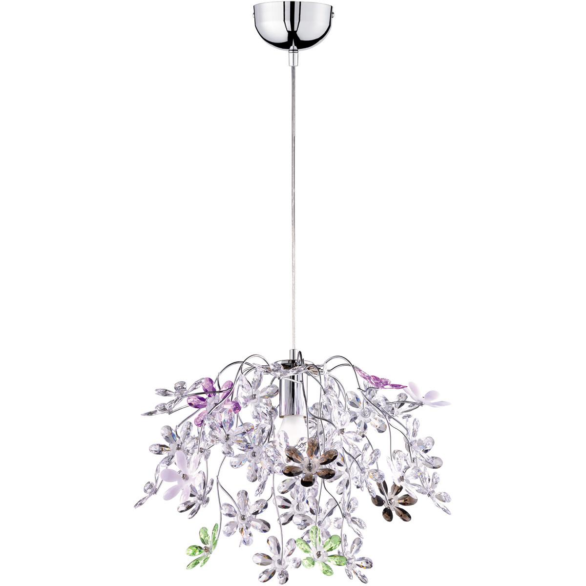 LED Hanglamp - Hangverlichting - Trion Flowy - E27 Fitting - 1-lichts - Rond - Glans Chroom - Alumin