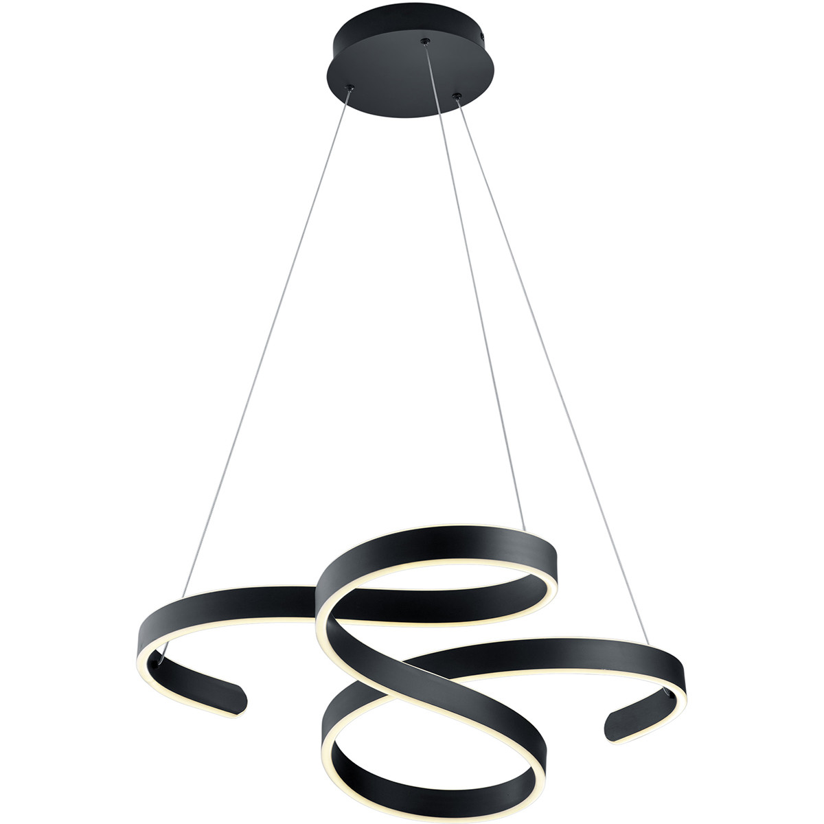 LED Hanglamp - Hangverlichting - Trion Frinco - 52W - Warm Wit 3000K - Dimbaar - Rond - Mat Zwart -