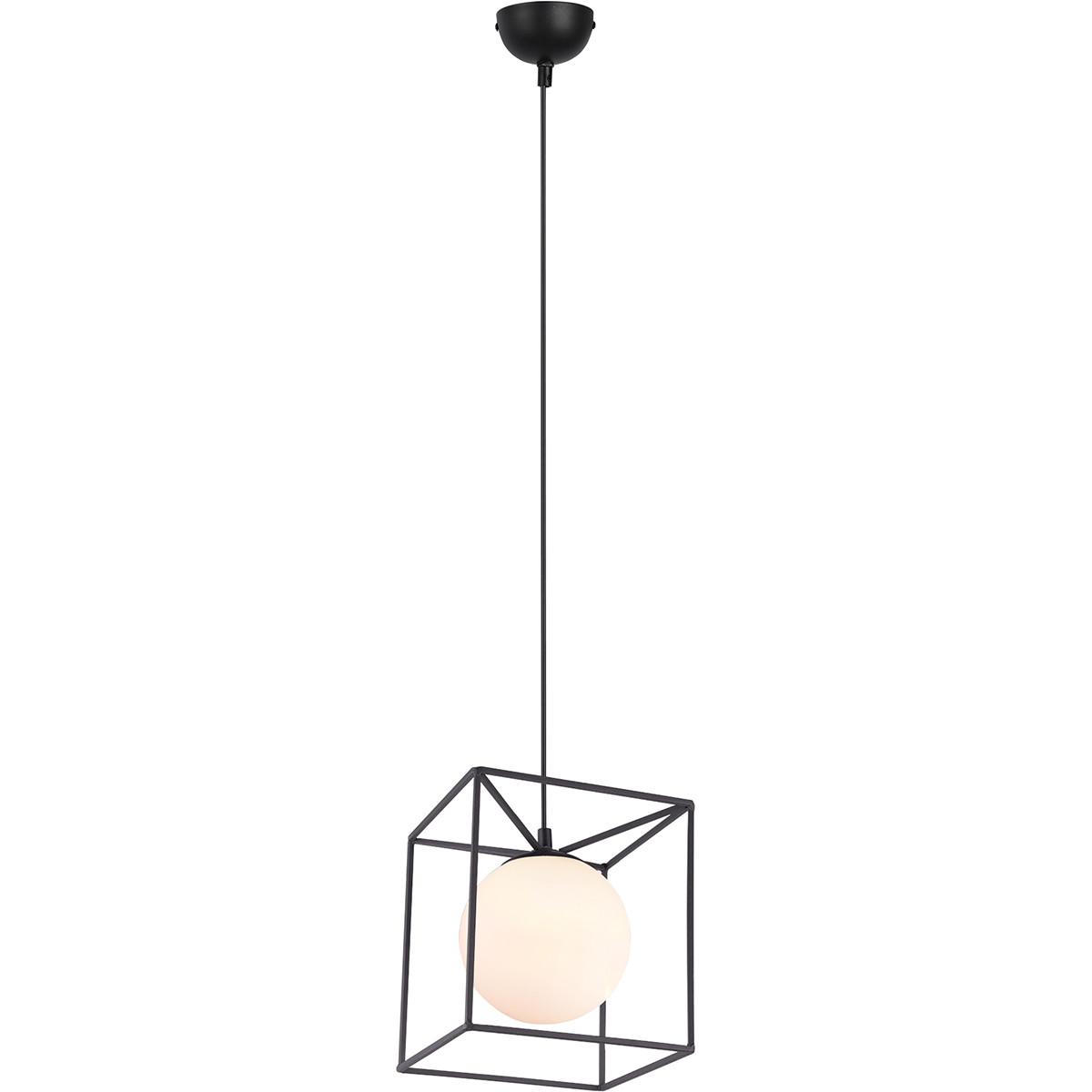 LED Hanglamp - Hangverlichting - Trion Gebia - E27 Fitting - 1-lichts - Vierkant - Mat Zwart - Alumi