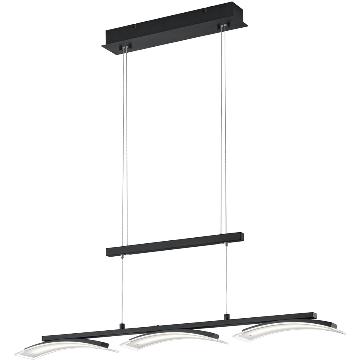 LED Hanglamp - Hangverlichting - Trion Ivar - 15W - Aanpasbare Kleur - Dimbaar - Rechthoek - Mat Zwart - Aluminium