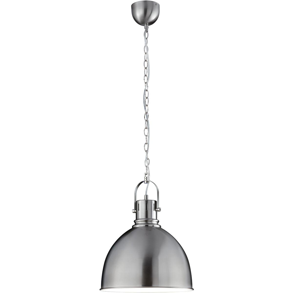 LED Hanglamp - Hangverlichting - Trion Jesper - E27 Fitting - Rond - Mat Nikkel - Aluminium