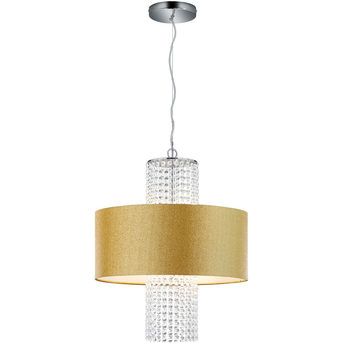 LED Hanglamp - Hangverlichting - Trion Kong - E14 Fitting - 3-lichts - Rond - Mat Goud - Aluminium