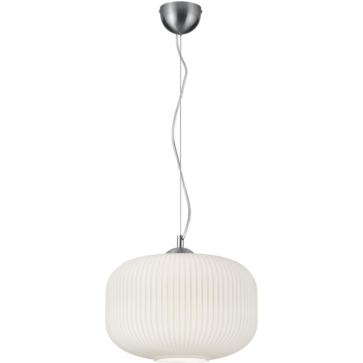 LED Hanglamp - Hangverlichting - Trion Konpo - E27 Fitting - Rond - Mat Wit - Aluminium