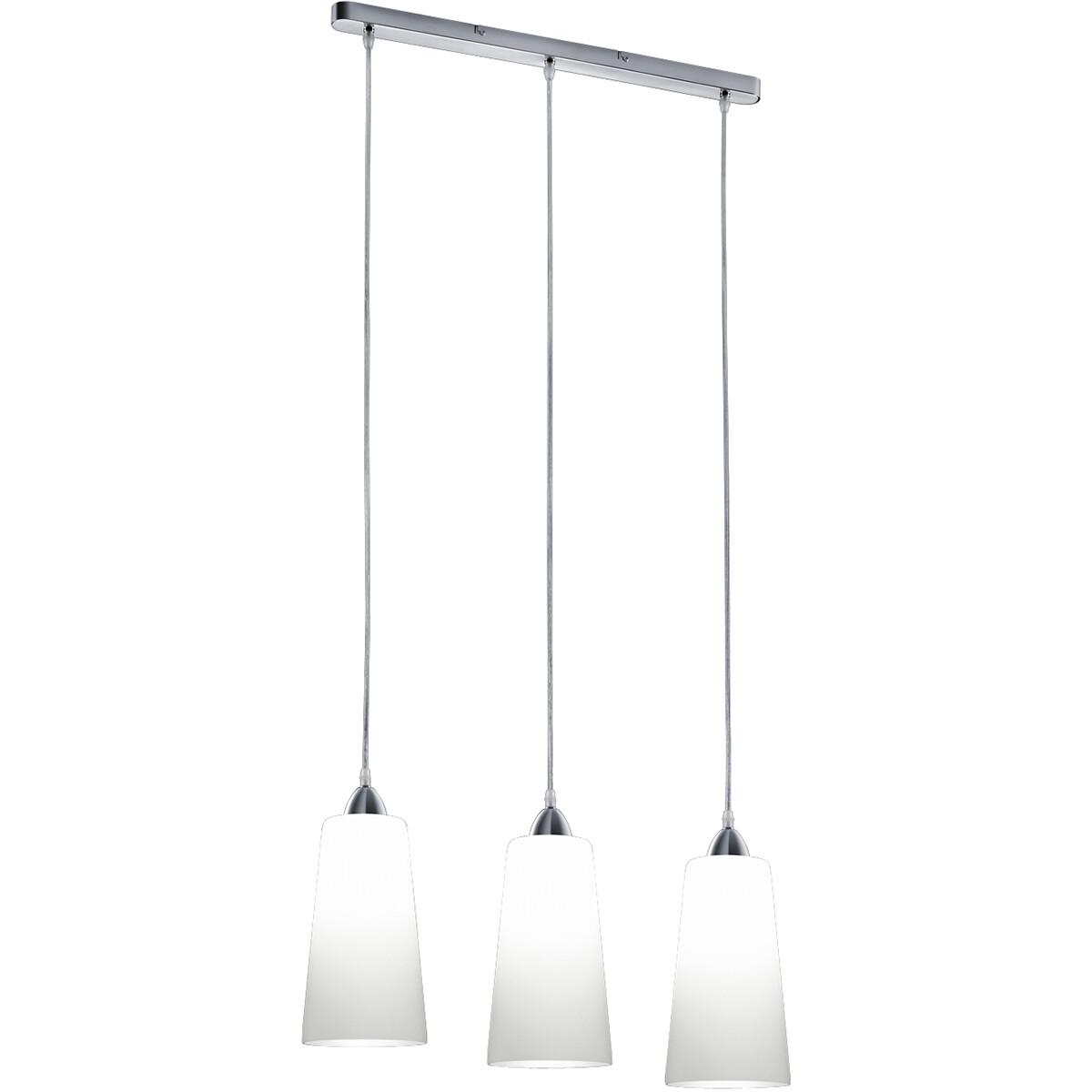 LED Hanglamp - Hangverlichting - Trion Konumo - E27 Fitting - 3-lichts - Rond - Mat Nikkel - Alumini