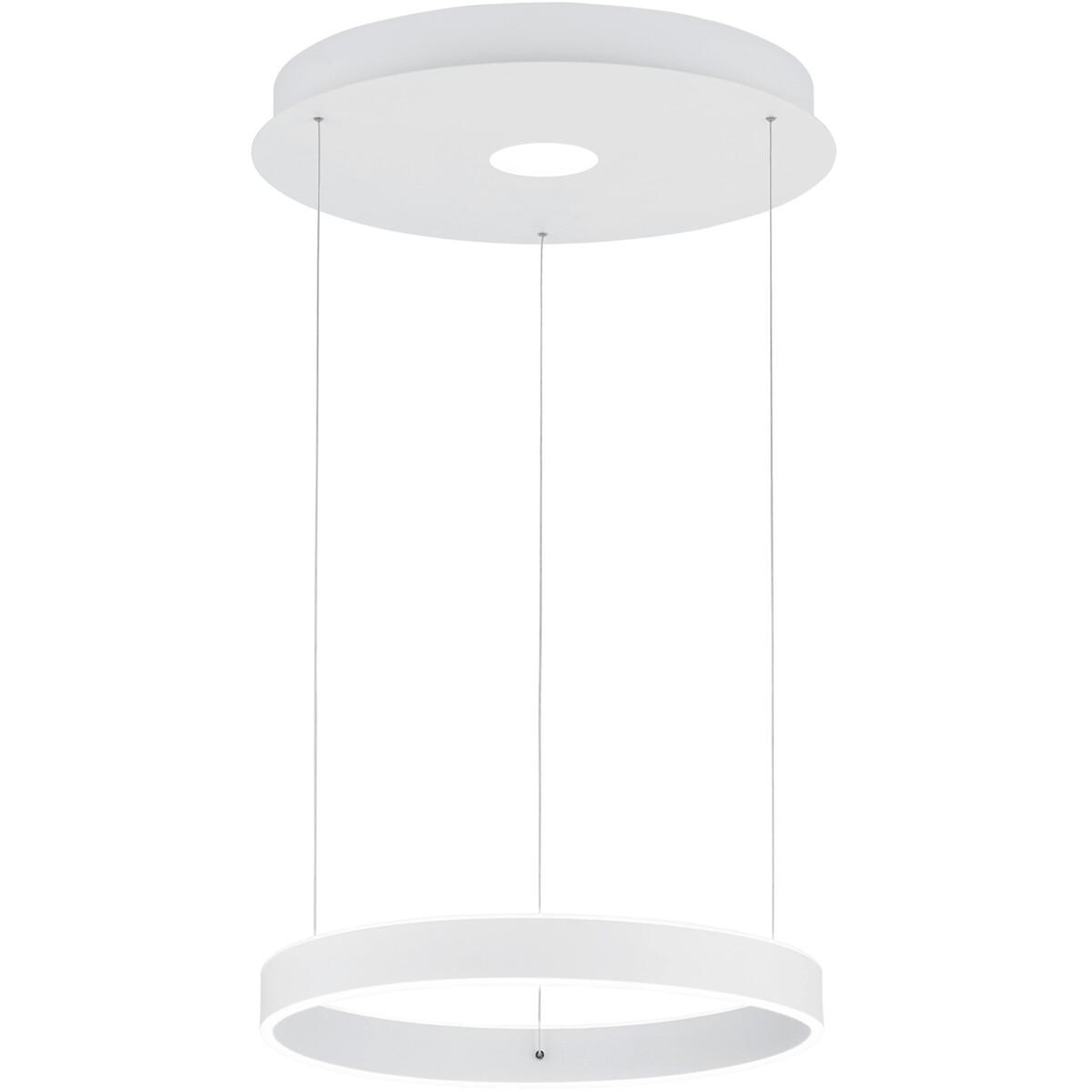 LED Hanglamp - Hangverlichting - Trion Lonag - 45W - Natuurlijk Wit 4000K - Rond - Mat Wit - Aluminium