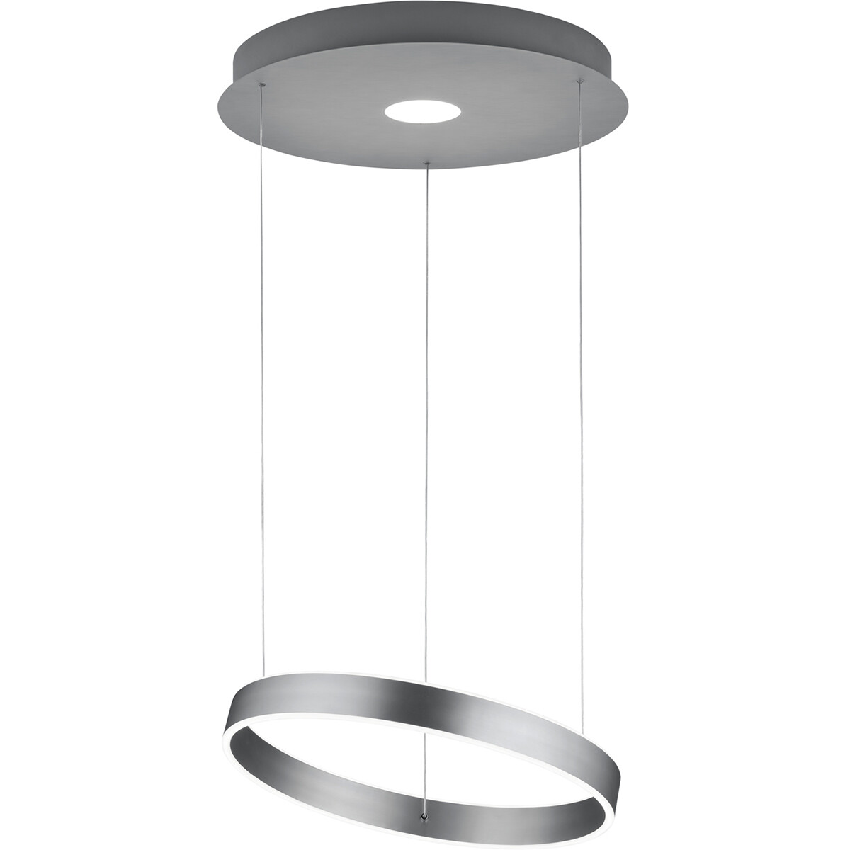 LED Hanglamp - Hangverlichting - Trion Lonag - 45W - Warm Wit 3000K - Rond - Mat Nikkel - Aluminium