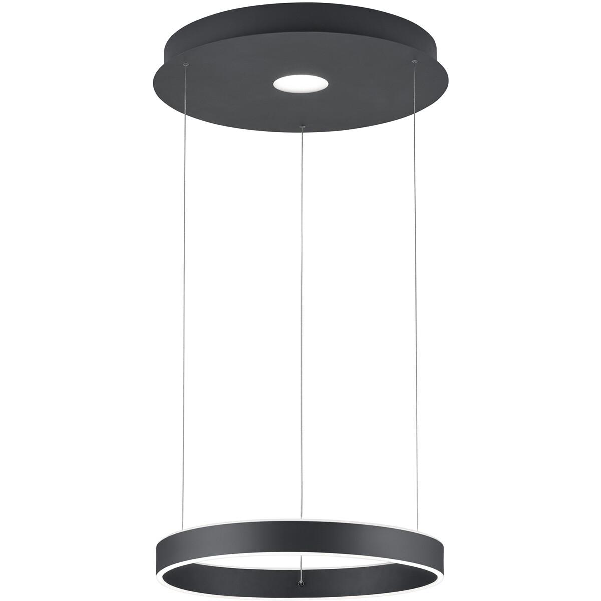 LED Hanglamp - Hangverlichting - Trion Lonag - 45W - Warm Wit 3000K - Rond - Mat Zwart - Aluminium