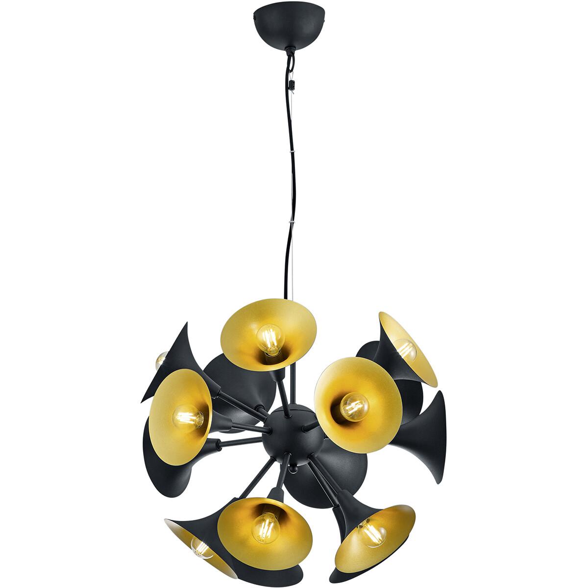 LED Hanglamp - Hangverlichting - Trion Mackon - E14 Fitting - Rond - Mat Zwart - Aluminium