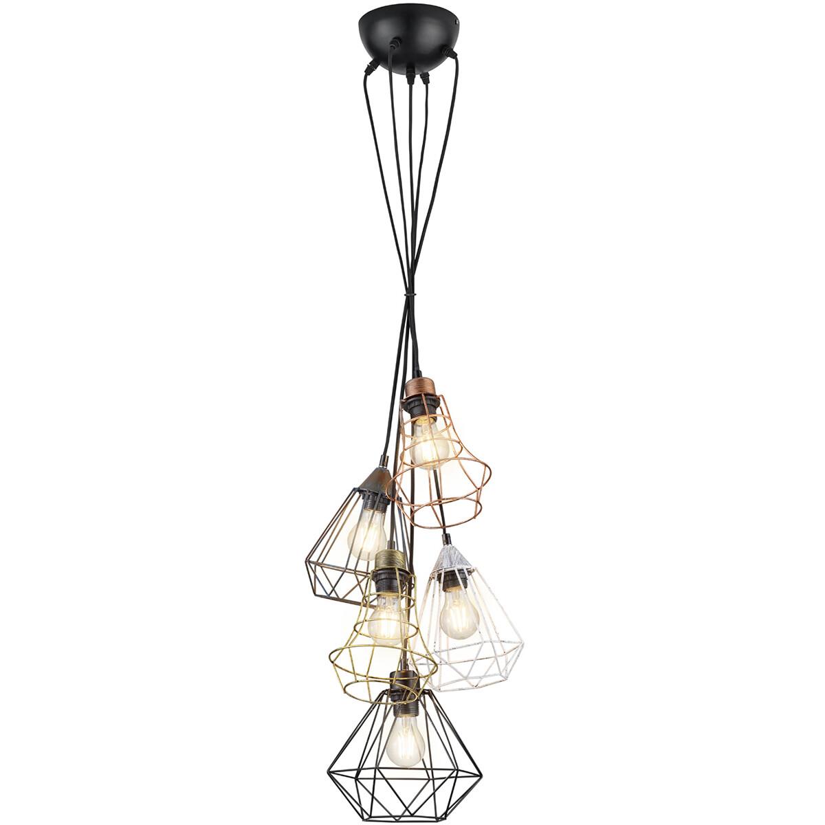 LED Hanglamp - Hangverlichting - Trion Meke - E27 Fitting - Rond - Meerkleurig - Aluminium