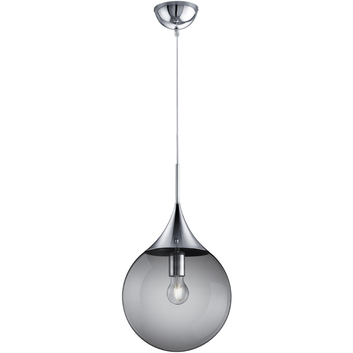 LED Hanglamp - Hangverlichting - Trion Midon - E27 Fitting - Rond - Mat Chroom - Aluminium