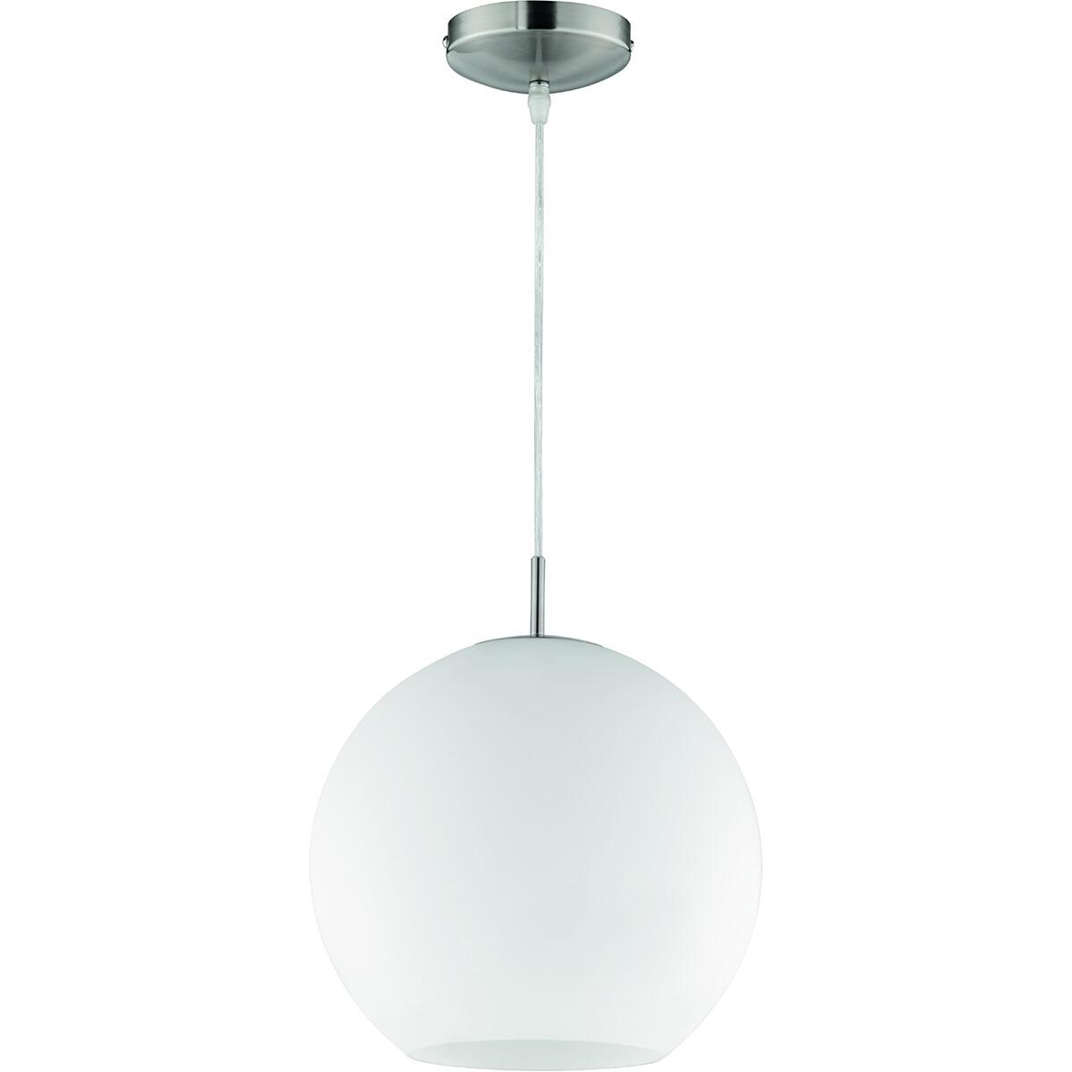LED Hanglamp - Hangverlichting - Trion Mono XL - E27 Fitting - Rond - Mat Nikkel - Aluminium
