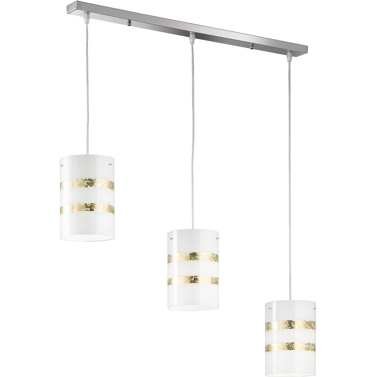 LED Hanglamp - Hangverlichting - Trion Niki - E27 Fitting - 3-lichts - Rechthoek - Mat Goud - Alumin