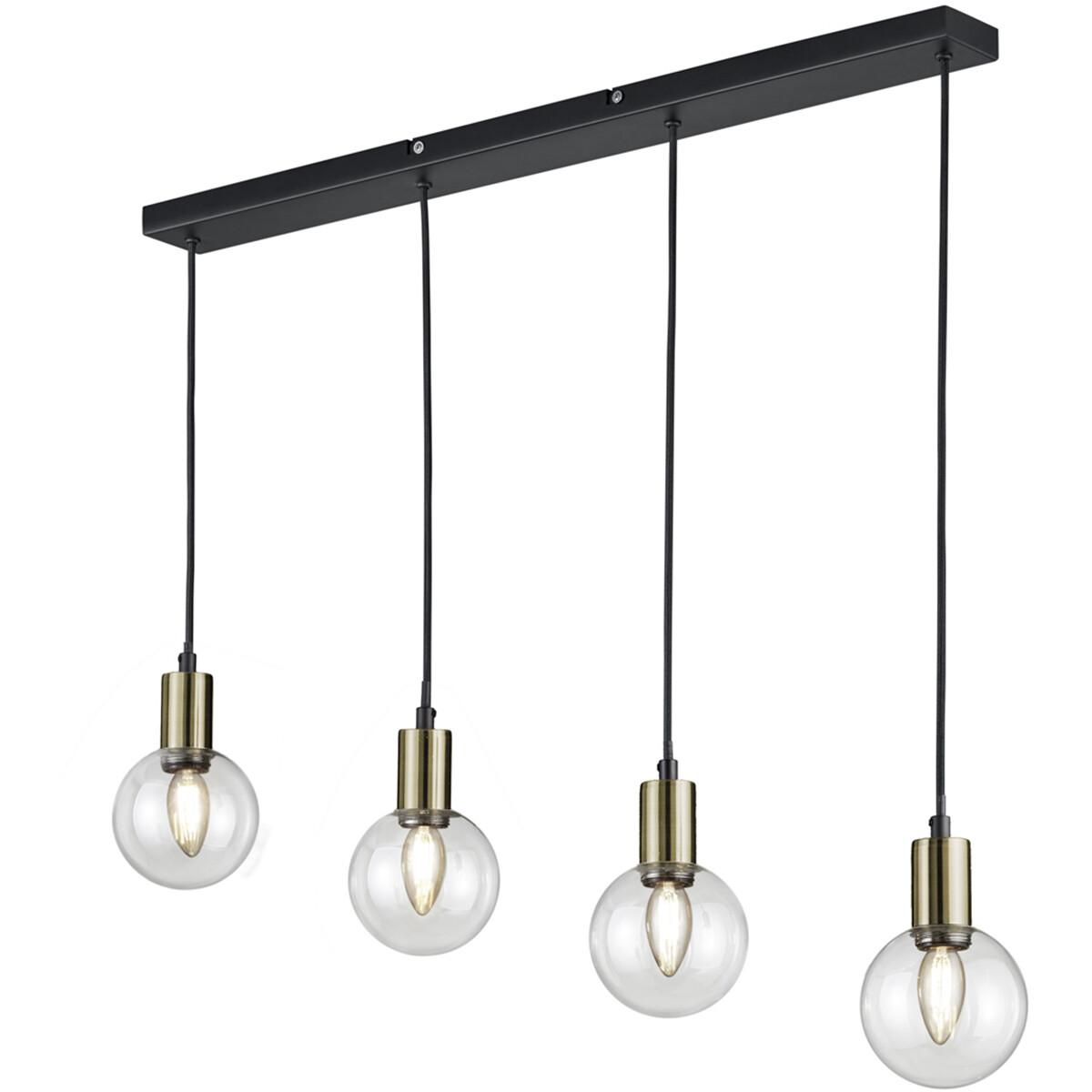 LED Hanglamp - Hangverlichting - Trion Nikon - E14 Fitting - 4-lichts - Rechthoek - Mat Zwart - Alum