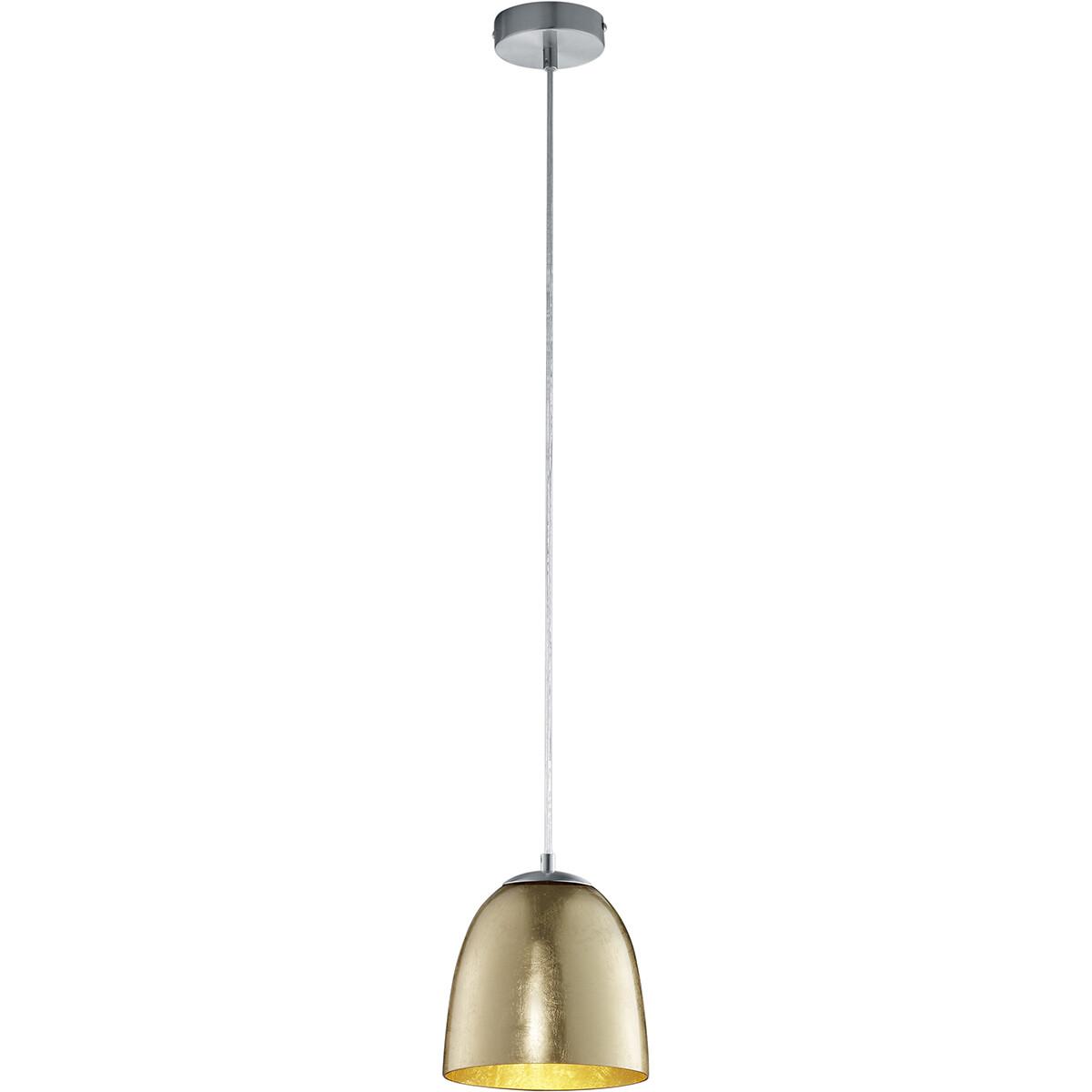 LED Hanglamp - Hangverlichting - Trion Onutia - E14 Fitting - 1-lichts - Ovaal - Mat Goud - Aluminiu