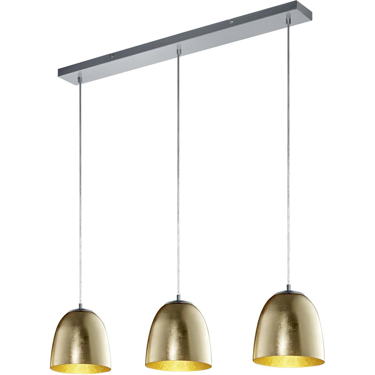 LED Hanglamp - Hangverlichting - Trion Onutia - E14 Fitting - 3-lichts - Rechthoek - Mat Goud - Alum