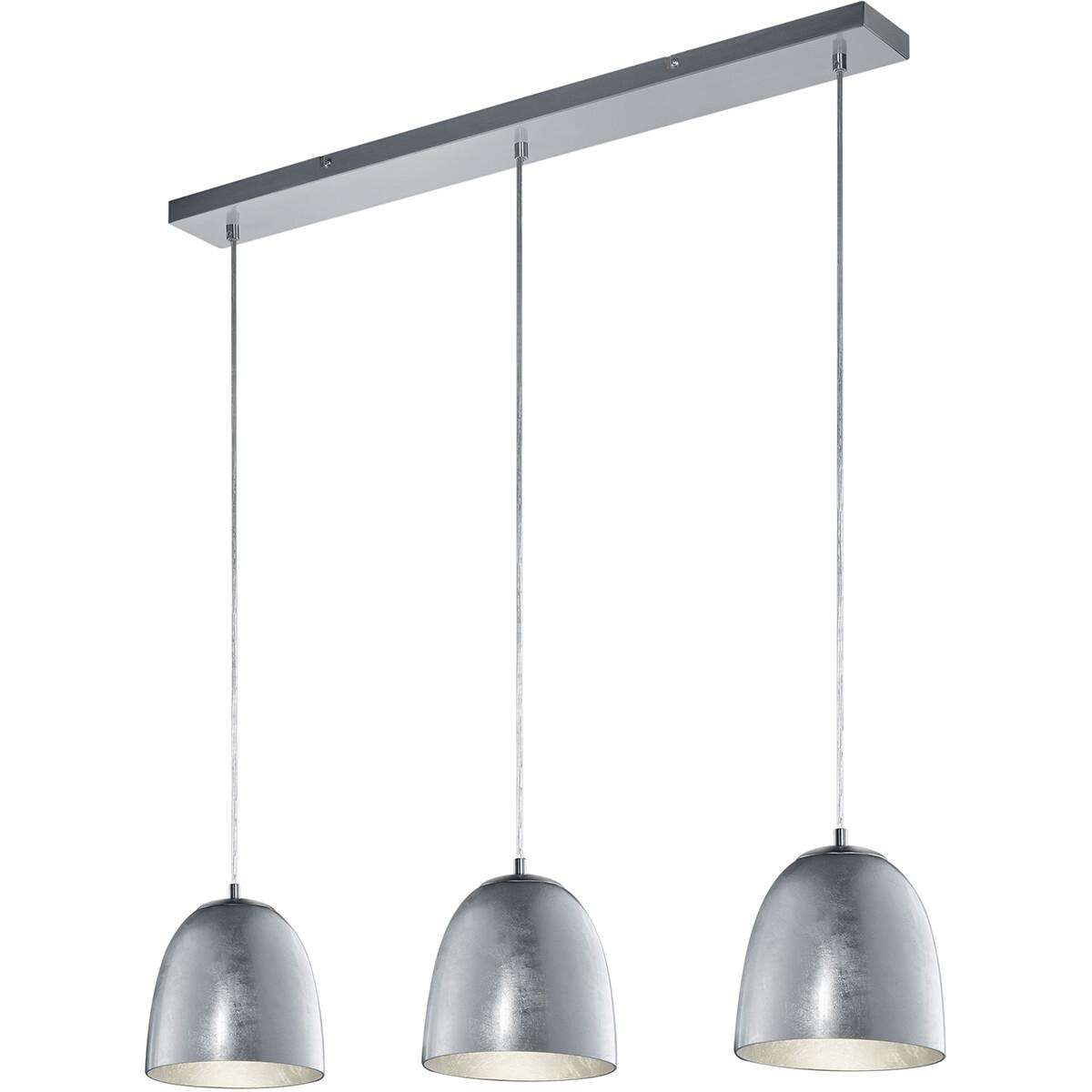 LED Hanglamp - Hangverlichting - Trion Onutia - E14 Fitting - 3-lichts - Rechthoek - Mat Zilver - Al