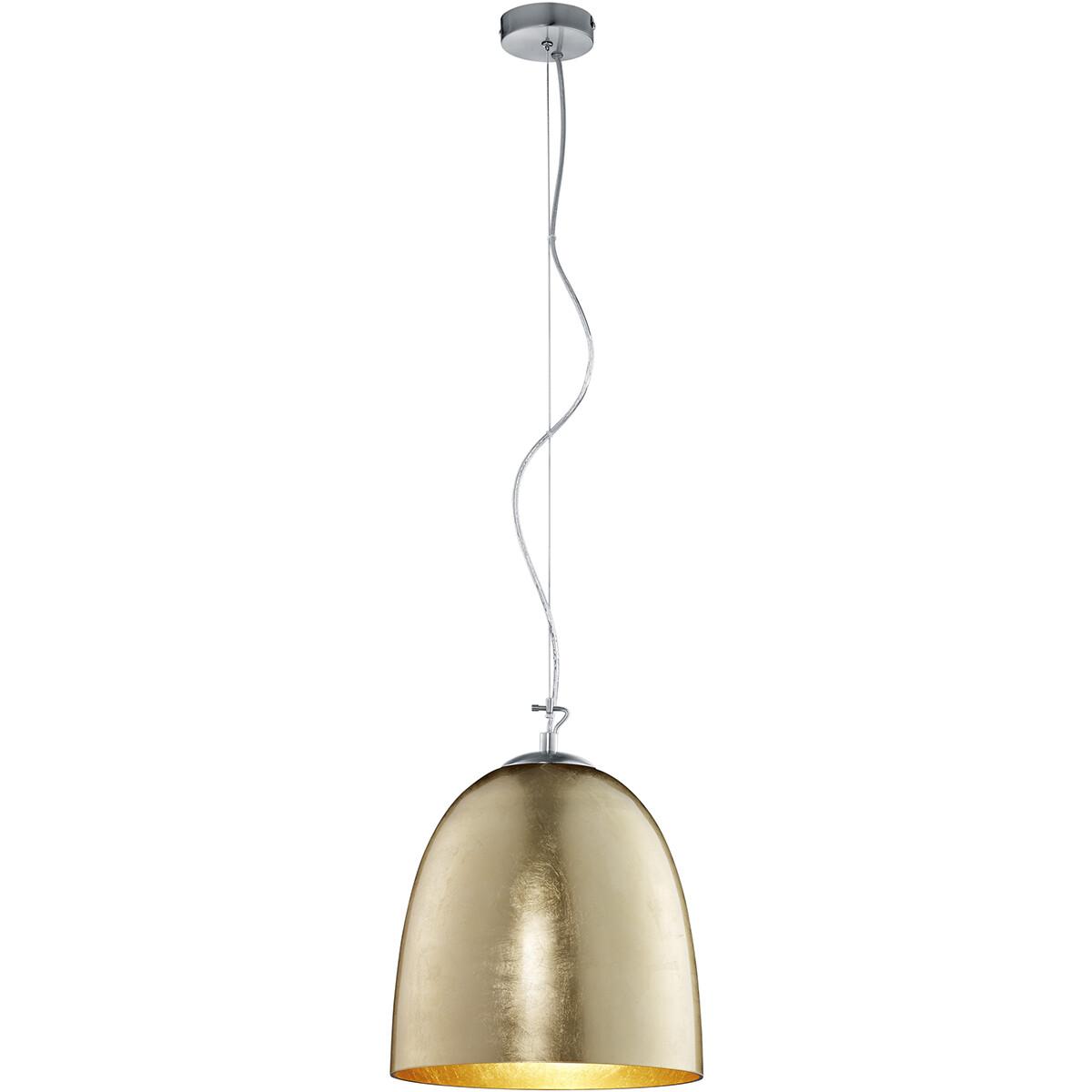LED Hanglamp - Hangverlichting - Trion Onutia XL - E27 Fitting - 1-lichts - Ovaal - Mat Goud - Alumi