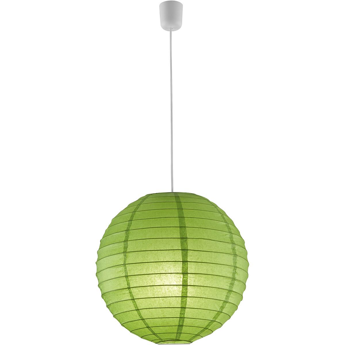 LED Hanglamp - Hangverlichting - Trion Ponton - Rond - Mat Groen - Papier