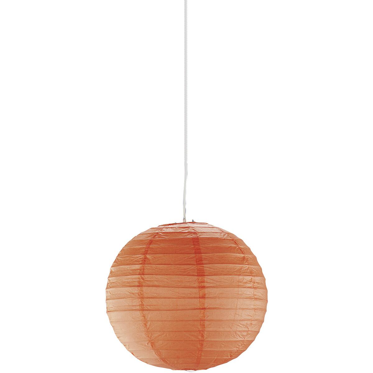 LED Hanglamp - Hangverlichting - Trion Ponton - Rond - Mat Oranje - Papier