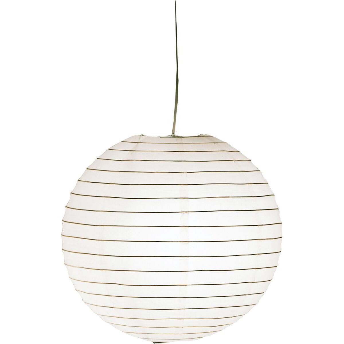 LED Hanglamp - Hangverlichting - Trion Ponton - Rond - Mat Wit - Papier