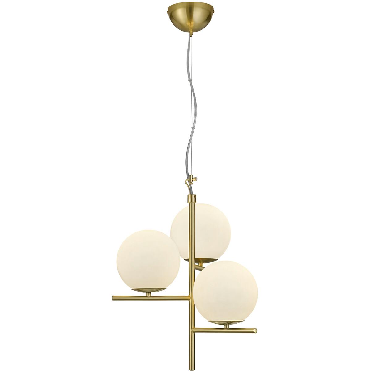 LED Hanglamp - Hangverlichting - Trion Pora - E14 Fitting - Rond - Mat Goud - Aluminium