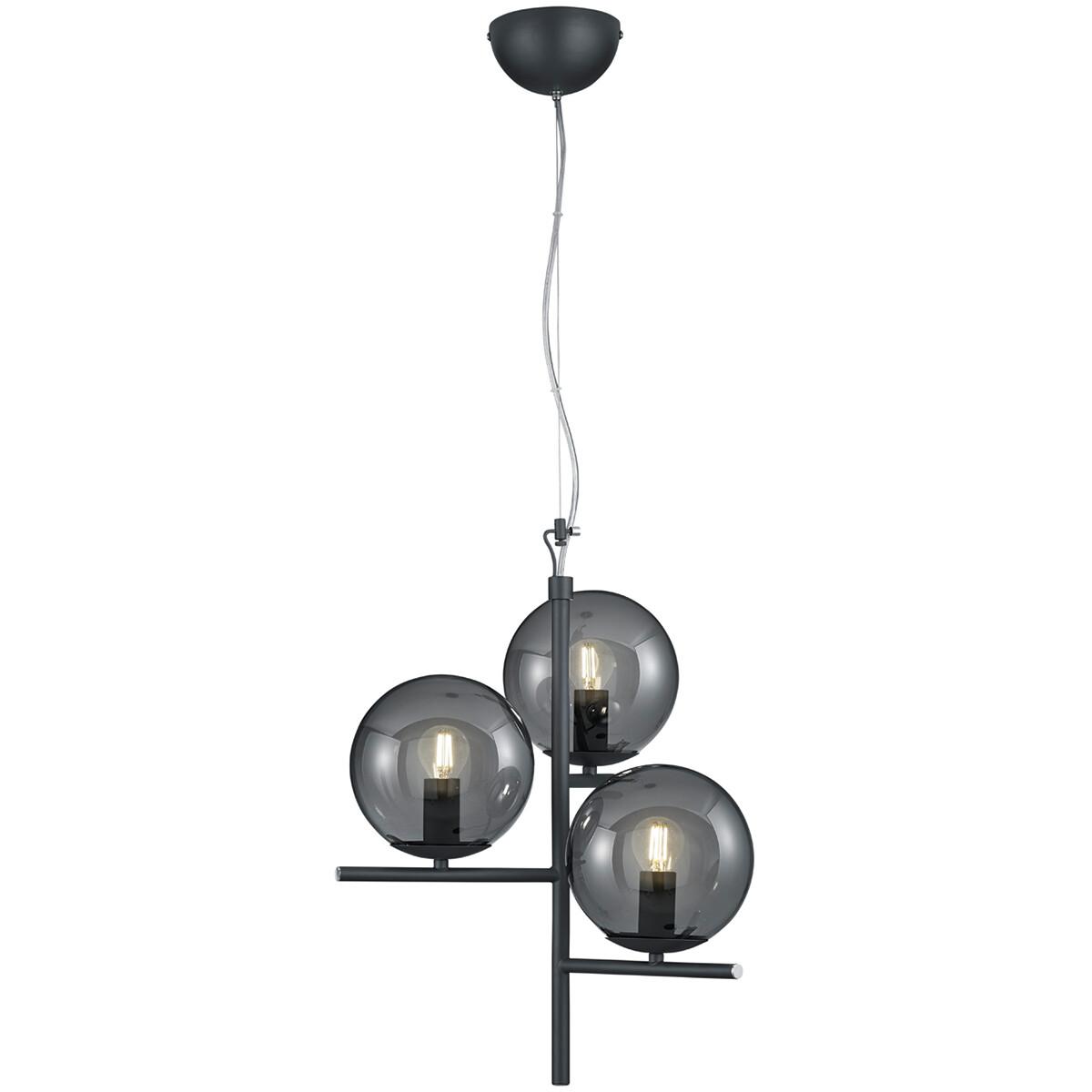 LED Hanglamp - Hangverlichting - Trion Pora - E14 Fitting - Rond - Mat Zwart - Aluminium