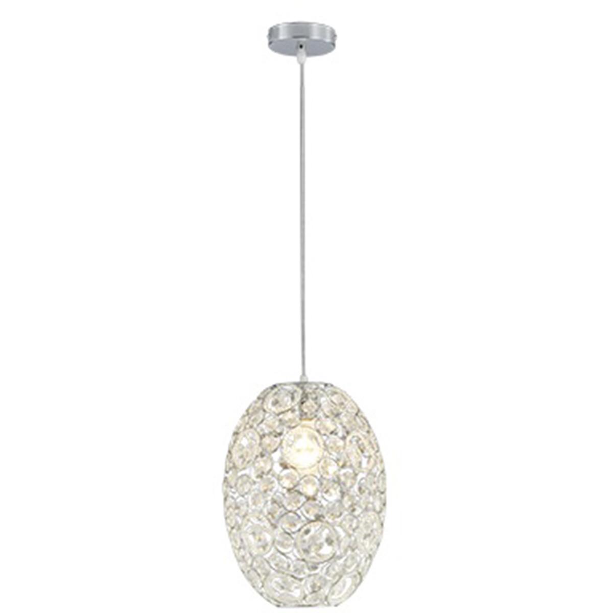 LED Hanglamp - Hangverlichting - Trion Ridan - E27 Fitting - Rond - Mat Chroom - Aluminium