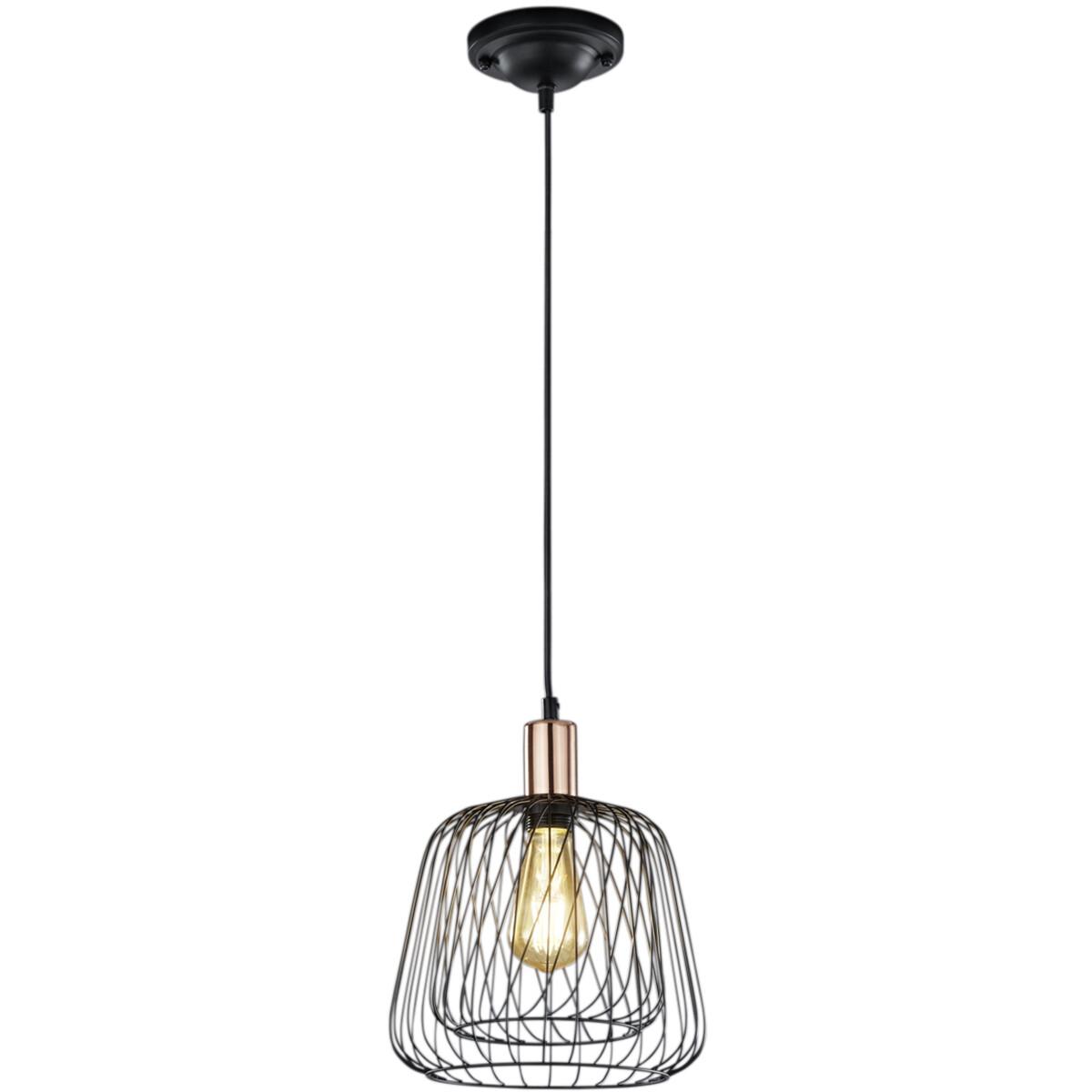 LED Hanglamp - Hangverlichting - Trion Simon - E27 Fitting - 1-lichts - Rond - Mat Zwart - Aluminium