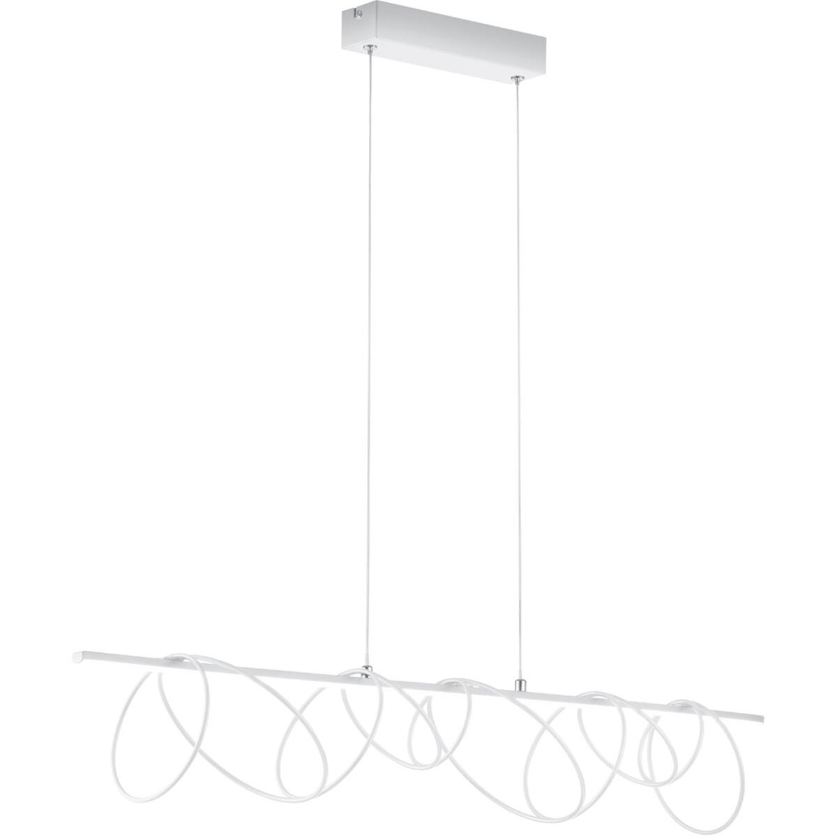 LED Hanglamp - Hangverlichting - Trion Soba - 18W - Natuurlijk Wit 4000K - Rechthoek - Mat Wit - Aluminium