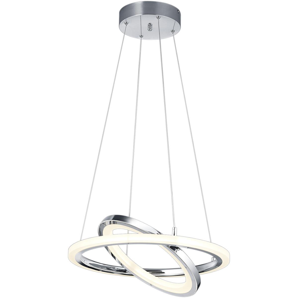 LED Hanglamp - Hangverlichting - Trion Sotaru - 36W - Warm Wit 3000K - Rond - Glans Chroom - Aluminium