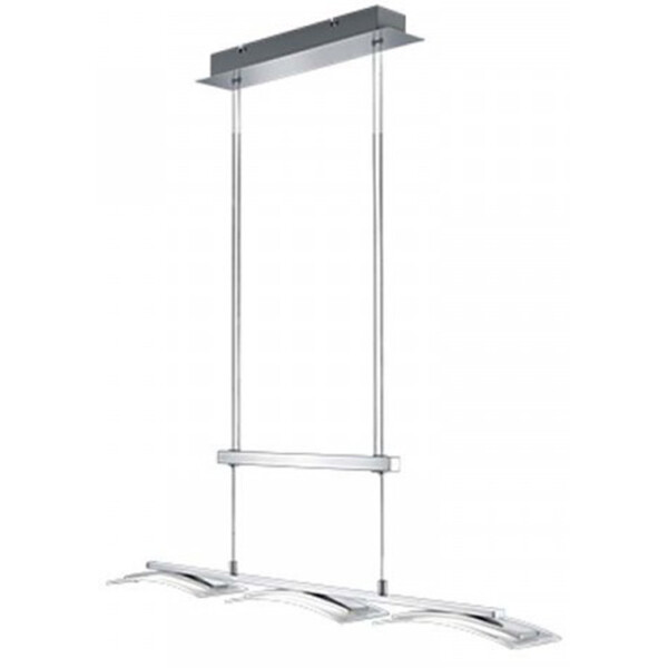 LED Hanglamp - Hangverlichting - Trion Stakaru - 12W - Warm Wit 3000K - Rechthoek - Mat Nikkel - Alu